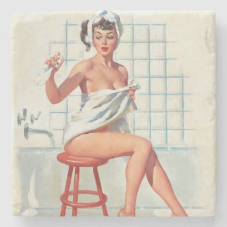 Stool pigeon sexy bathroom retro pinup girl stone coaster