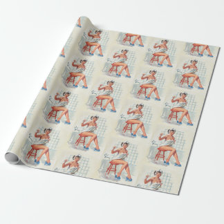 Stool pigeon sexy bathroom retro pinup girl wrapping paper