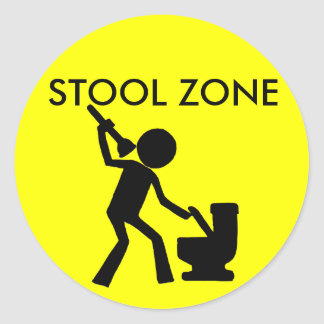 Stool Zone Round Sticker