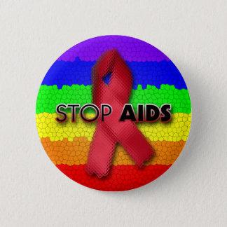 Stop AIDS (Rainbow) 6 Cm Round Badge