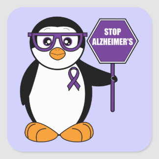 Stop Alzheimer's Disease: Penguin with Sign Square Sticker
