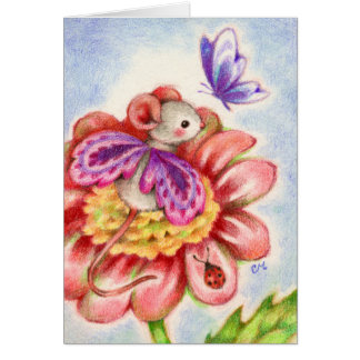 Stop and Smell the Flowers - Fairy Mouse Art Card