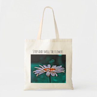 Stop and Smell the Flowers Painted Daisy Tote