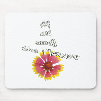 stop and smell to flower mouse pad