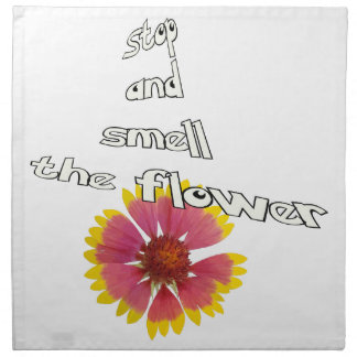 stop and smell to flower napkin