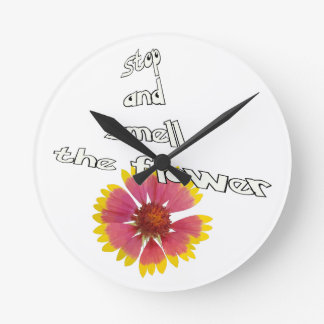 stop and smell to flower round clock