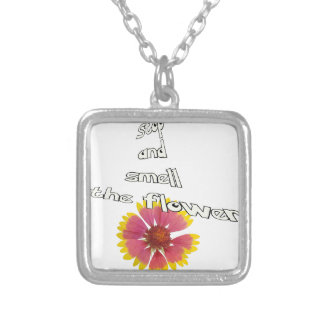 stop and smell to flower silver plated necklace