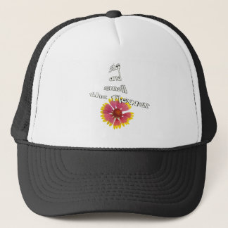 stop and smell to flower trucker hat