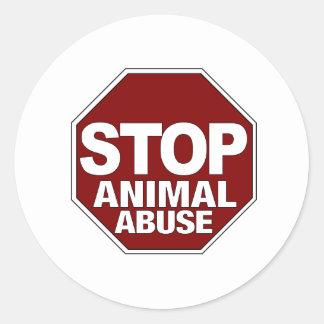 Stop Animal Abuse Round Sticker