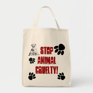 STOP ANIMAL CRUELTY GROCERY TOTE BAG