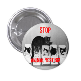 """STOP Animal Testing!"" Cats button pin"