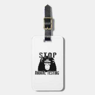Stop Animal Testing - Chimpanzee Luggage Tag