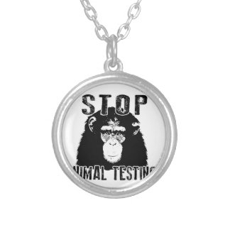 Stop Animal Testing - Chimpanzee Silver Plated Necklace