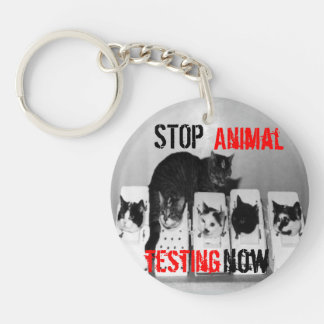 """""""STOP Animal Testing NOW"""" Laboratory Cats Key Ring Double-Sided Round Acrylic Key Ring"""