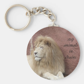 stop animals in chains basic round button key ring