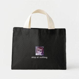 stop at nothing, small black tote bag