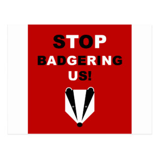 STOP BADGERING US badger cull protest Post Card