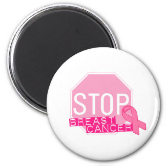 STOP BREAST CANCER Pink Ribbon Stop Sign 6 Cm Round Magnet