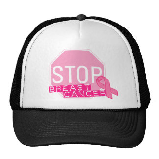 STOP BREAST CANCER Pink Ribbon Stop Sign Trucker Hats