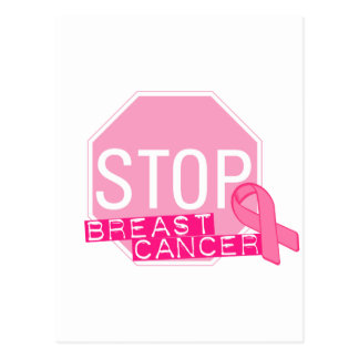 STOP BREAST CANCER Pink Ribbon Stop Sign Postcard