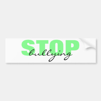 Stop Bullying Green Simple Bumper Sticker