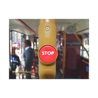 Stop button on a bus canvas print