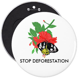 Stop Deforestation 6 Cm Round Badge