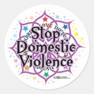 Stop Domestic Violence Lotus Round Sticker