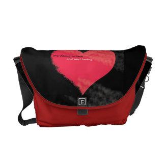 stop falling in love Medium Messenger Bag