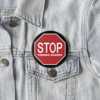 Stop Finning Sharks Sign 7.5 Cm Round Badge
