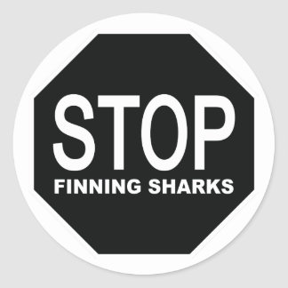 Stop Finning Sharks Sign Classic Round Sticker