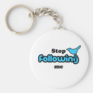 Stop following me basic round button key ring