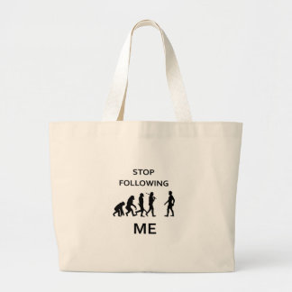 stop following me large tote bag