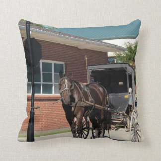 Stop For a Spell, Amish Buggy Horse Throw Pillow