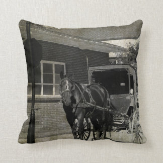 Stop For a Spell, Amish Buggy Horse in sepia Throw Pillow
