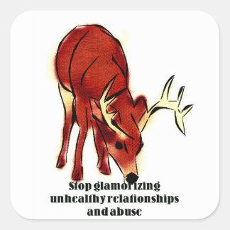 Stop glamorizing abuse square sticker