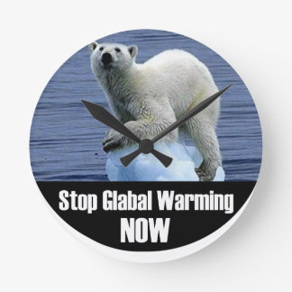 Stop Global Warming Now Round Clock