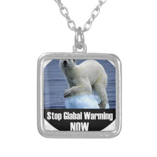 Stop Global Warming Now Silver Plated Necklace
