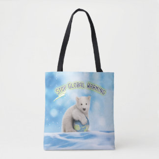 Stop Global Warming Polar Bear All-Over-Print Tote