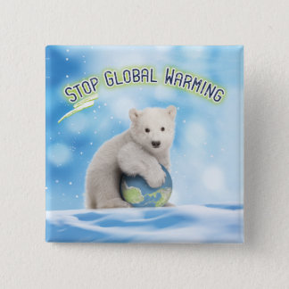 Stop Global Warming Polar Bear Button