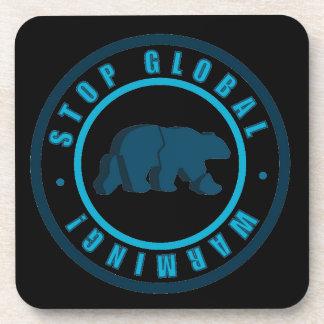 Stop global warming vintage circle design beverage coasters