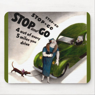 Stop, Go, but don't hit the fat lady or her dog Mouse Pad