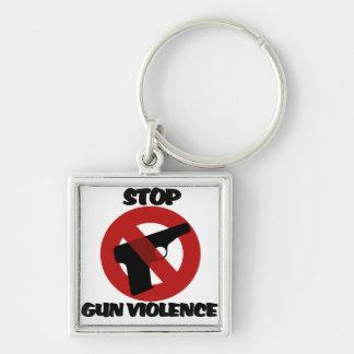 Stop Gun Violence Silver-Colored Square Key Ring