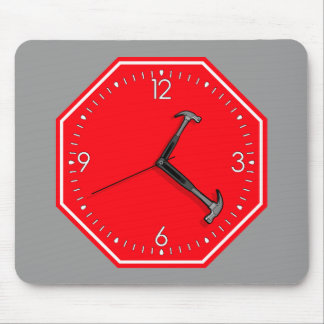Stop Hammer Time Sign Clock Mouse Pad