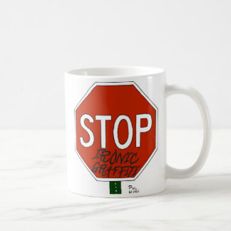 Stop ironic graffiti mug