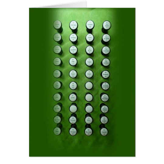 Stop knobs green console card