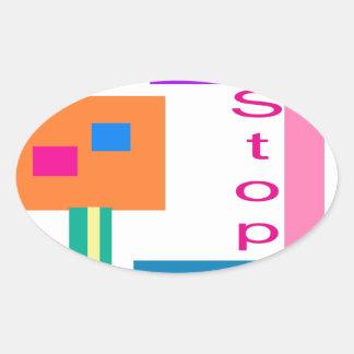 Stop Oval Sticker