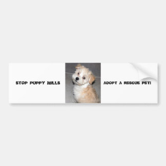 STOP PUPPY MILLS - ADOPT A RESCUE PET BUMPER STICKER