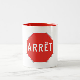 Stop, Quebec, Traffic Sign, Canada Two-Tone Coffee Mug