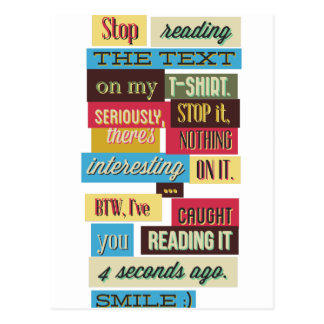 stop reading the texts, cool fresh design postcard